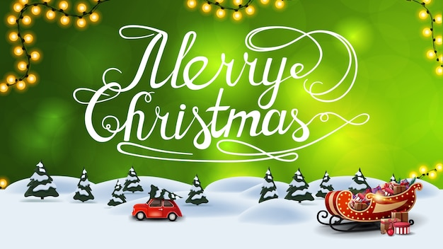 Wesołych świąt, zielona pocztówka z rozmytym tłem