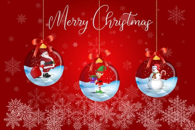 Wesołych świąt zima kartkę z życzeniami święty mikołaj z elfem i bałwanem