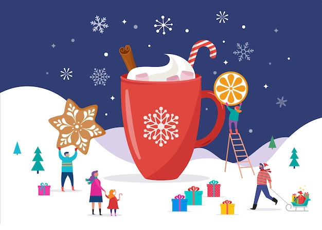 Wesołych świąt, zimowa scena z dużym kakaowym kubkiem i małymi ludzikami
