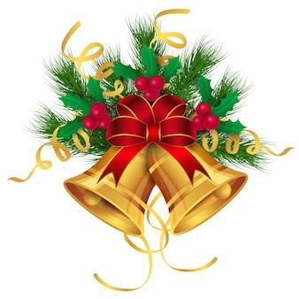 Wesołych świąt złota ozdoba dzwony