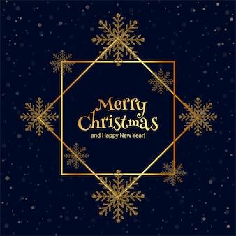 Wesołych świąt złoty płatek śniegu wykonany z brokatem