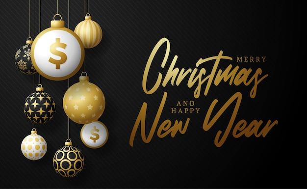 Wesołych świąt złoty transparent symbol dolara. znak dolara jako boże narodzenie cacko piłka wiszące kartkę z życzeniami. grafika wektorowa na boże narodzenie, finanse, nowy rok, bankowość, pieniądze