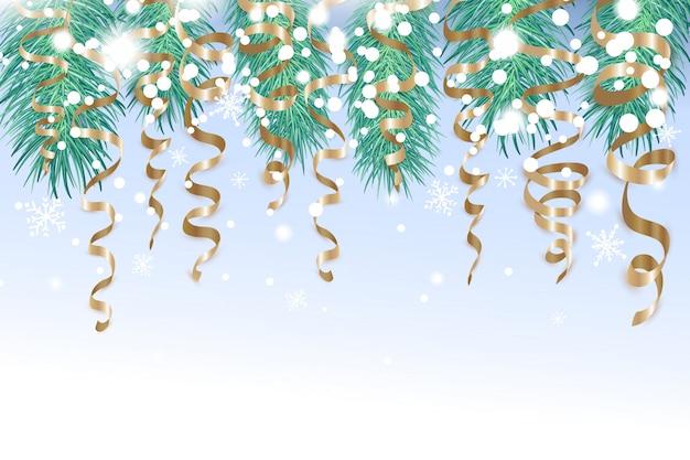 Wesołych świątecznych dekoracji ze złotymi wstążkami