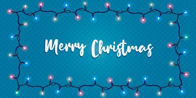 Wesołych świątecznych świateł garland. świąteczny element dekoracji.