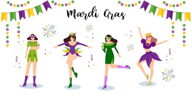 Wesołych Tancerzy Mardi Gras Carnival Darmowych Wektorów