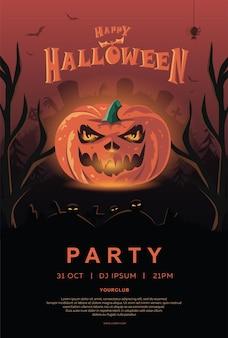 Wesołych zaproszenia na halloween. dynia ze świecącymi oczami