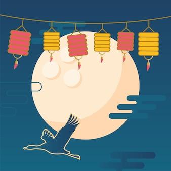 Wesołych zbiorów w połowie jesieni z bocianem księżycowym i latarniami