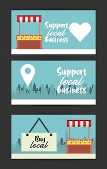 Wesprzyj plakat lokalnego biznesu za pomocą kiosków z pomarańczami