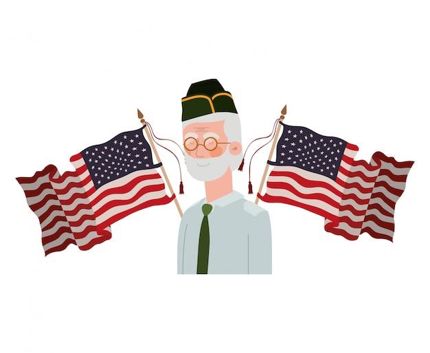 Weteran wojny stary człowiek z flagą stanów zjednoczonych