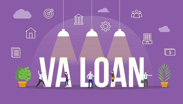 Weterani pożyczek va zjednoczyli się z ludźmi wokół i powiązaną ikoną z nowoczesnym wektorem stylu płaskiego