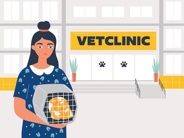 Weterynaria szpital lub klinika dla zwierząt kobieta trzyma kota, aby wyleczyć chorego