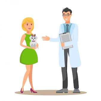 Weterynaryjna konsultaci płaska wektorowa ilustracja