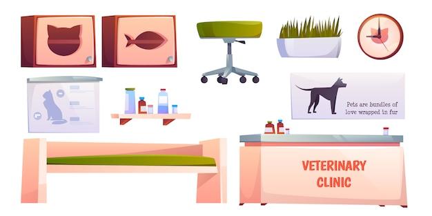 Weterynaryjne weterynarz kliniki meble i rzeczy na białym tle