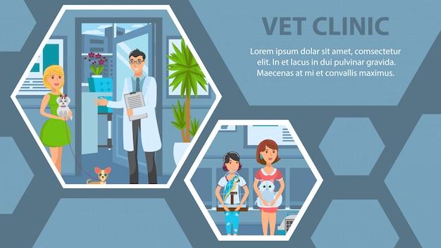 Weterynaryjny kliniki płaski tkanina transparent wektor szablonu