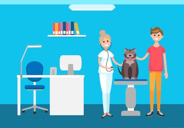 Weterynarz veterinary checkup at pet clinic