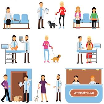 Weterynarz zestaw kliniki, lekarze weterynarii bada psy i koty, ludzie odwiedzający klinikę weterynarza z ich zwierząt domowych cartoon ilustracji