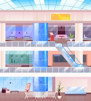 Wewnątrz centrum handlowego płaski kolor ilustracji