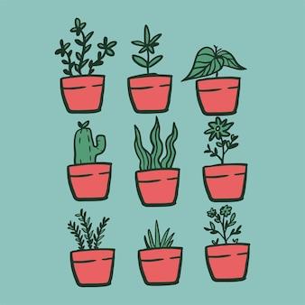Wewnątrz i na zewnątrz krajobraz ogród rośliny doniczkowe linia wektor zestaw zielona roślina w doniczce