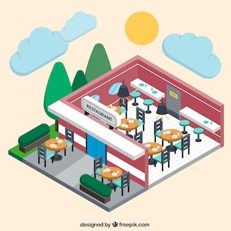 Wewnątrz i na zewnątrz restauracji