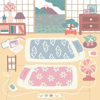 Wewnątrz japońskie łóżka futon