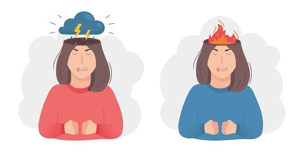 Wewnątrz kobiecej koncepcji głowy. metafora agresji gniewu. burza z piorunami, ciemna chmura i błyskawica lub płonący ogień zamiast mózgu. negatywny nastrój i zły humor.