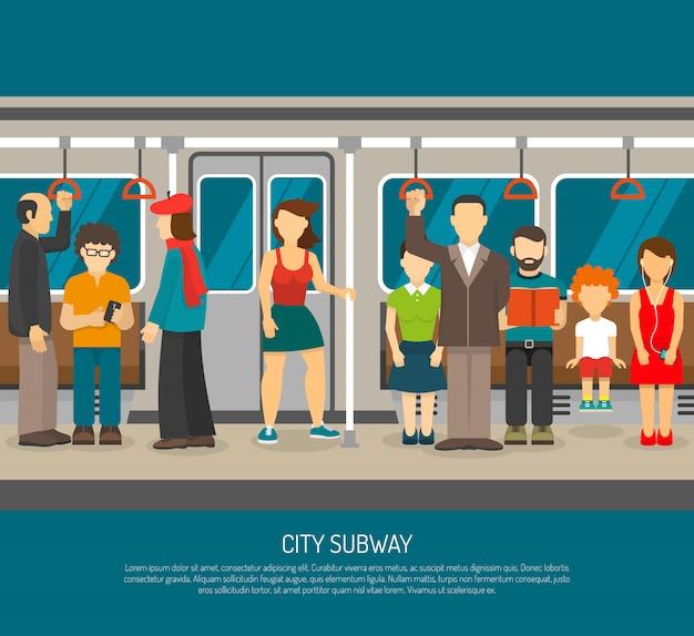 Wewnątrz plakat metra pociągu