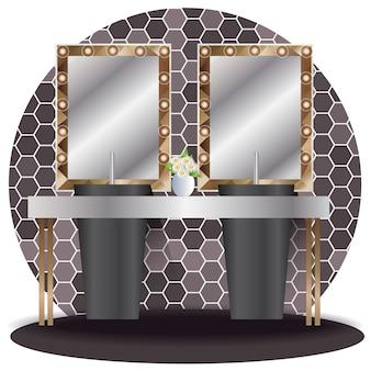 Wewnętrzna łazienki elewacja z tłem