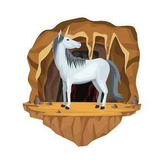 Wewnętrzna scena jaskini z jednorożcem greckiej mitologicznej istoty