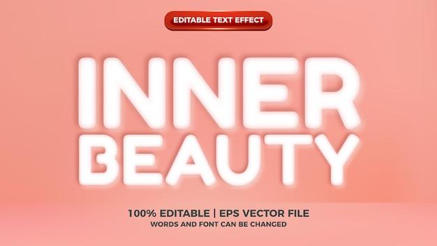 Wewnętrzne piękno miękkiego białego wytłoczonego stylu 3d edytowalnego tekstu na pastelowym tle