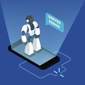 Wewnętrzny błąd serwera 500. zepsuty robot stojący przy telefonie. błąd połączenia internetowego. nowoczesna koncepcja technologii bezprzewodowej. ilustracja izometryczna