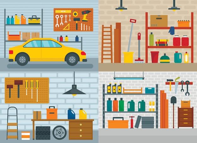 Wewnętrzny pokój samochodowy w garażu