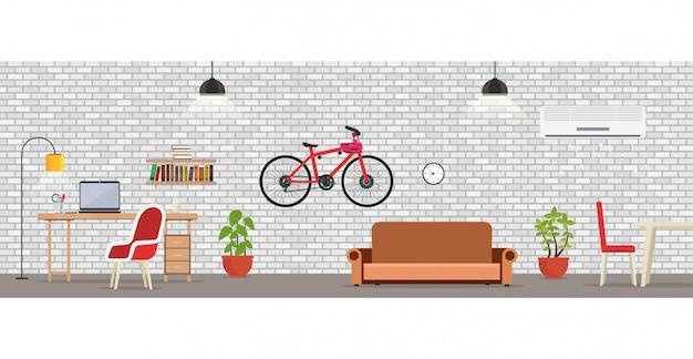 Wewnętrzny pokój z białym ściana z cegieł.