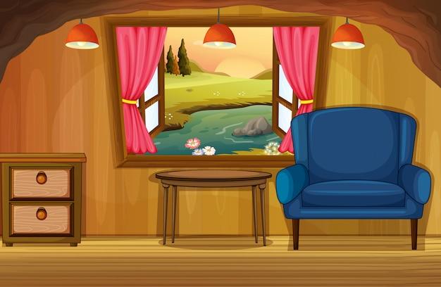Wewnętrzny żywy izbowy sceny tło