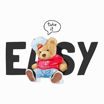 Weź to łatwe hasło z umiejscowieniem lalki niedźwiedzia przed łatwą ilustracją słowną