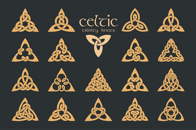 Węzeł celtycki trinity. 18 pozycji. ozdoba etniczna. geometryczny