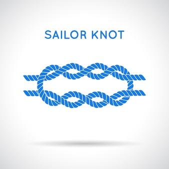 Węzeł marynarski. znak nieskończoności liny morskie. pojedynczy płaski ikona z cieniem. wiązanie węzła. element graficzny na zaproszenia ślubne, baby shower, kartkę urodzinową, scrapbooking, logo itp.
