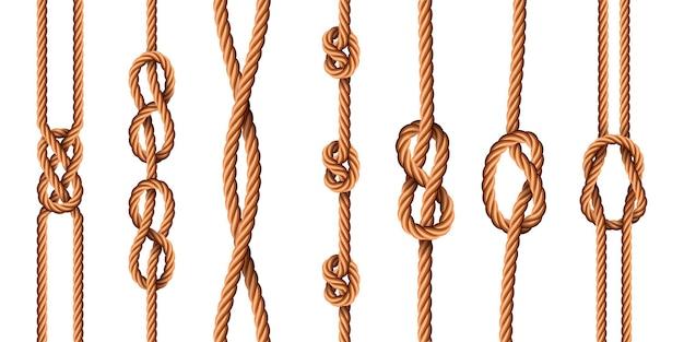 Węzły morskie. realistyczne liny z węzłami marynarskimi lub harcerskimi. wiązane sznurki jutowe z pętelkami. wygięte kreskówka konopi wątki wektor zestaw. ilustracja kabel marynarski skręcony, lina i sznur