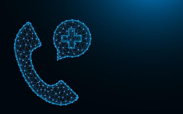 Wezwać pogotowie ratunkowe lub lekarza wykonanego z punktów i linii, wielokątna siatka szkieletowa połączenia awaryjnego