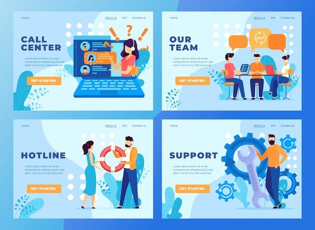 Wezwania klienta usługi wsparcia zespołu strony internetowej projekt, ilustracja. infolinia telefoniczna, operator wsparcia technicznego.