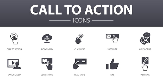 Wezwanie do działania zestaw ikon prostych koncepcji. zawiera ikony takie jak pobierz, kliknij tutaj, zapisz się, skontaktuj się z nami i nie tylko, mogą być używane do tworzenia stron internetowych, logo, ui/ux