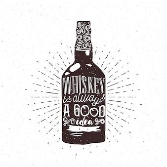 Whisky to zawsze dobry pomysł - tekst w butelce whisky. grawerowanie tematyczne whisky do kawiarni lub pubu. wektor.