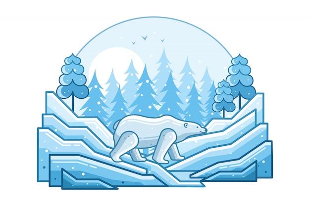 White bear winter line illustration