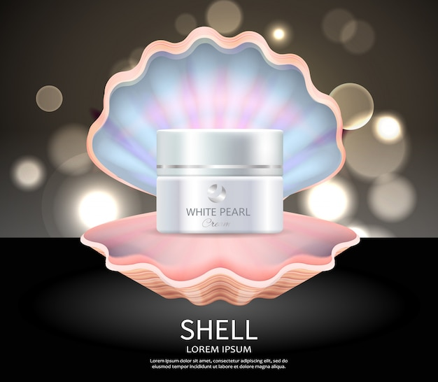 White pearl cream in seashell commercial poster
