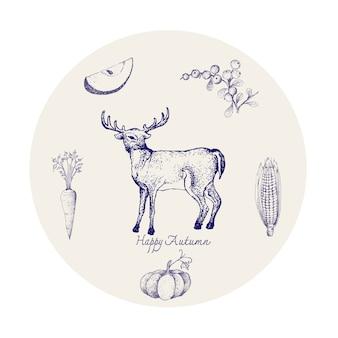 Whitetail deer z jesieni owoców i warzyw