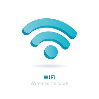 Wi fi sieci bezprzewodowej 3d symbol, wektorowa ilustracja