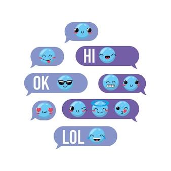 Wiadomość bąbelkowa czat z emoji kawaii