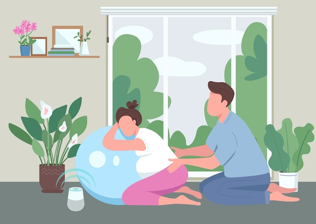 Wiadomość dla kobiety w ciąży płaski kolor. mąż i żona z piłką aerobową. zajęcia fitness dla kobiet w ciąży. młoda para postaci z kreskówek 2d z wnętrzem w tle