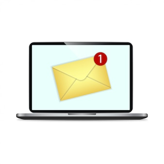 Wiadomość e-mail na ekranie w laptopie. koncepcja przypomnienia wiadomości. biuletyn na komputerze.