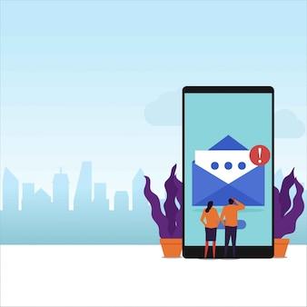 Wiadomość e-mail płaski wektor koncepcja para odbierać powiadomienia e-mail na ekranie telefonu.