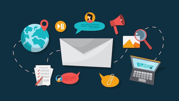 Wiadomość e-mail w smartfonie. idea globalnej komunikacji i powiadomienia w skrzynce pocztowej. ilustracja